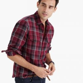 Midweight flannel shirt in vintage chimney plaid at J. Crew