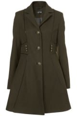 Military Piped Girly Coat at Topshop