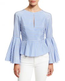 Milly Luna Striped Bell-Sleeve Peplum Blouse  Sky at Neiman Marcus