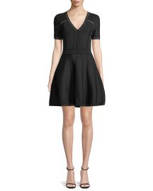 Milly Textured Pointelle Flare Dress at Neiman Marcus