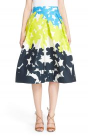 Milly  Clarisa  Pleated Floral Print Skirt at Nordstrom