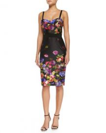 Milly Bouquet Floral-Print Sateen Dress at Neiman Marcus