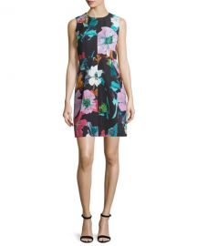 Milly Coco Paper Floral-Print Dress  Black at Neiman Marcus