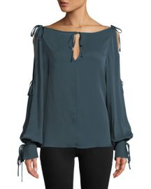 Milly Connie Silk-Stretch Top with Ties at Neiman Marcus