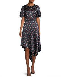 Milly Cynthia Floral-Print Silk-Stretch Dress at Neiman Marcus