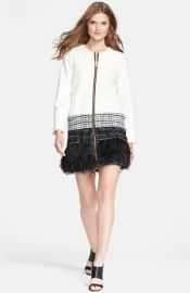 Milly Feather Trim Jacket at Nordstrom
