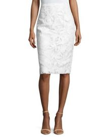 Milly Floral-Burnout Pencil Skirt  White at Neiman Marcus