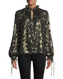 Milly Jenny Long-Sleeve Metallic Silk Chiffon Top at Neiman Marcus