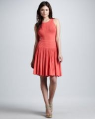 Milly Josephine Pleated Knit Dress Coral at Neiman Marcus