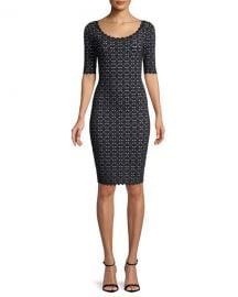 Milly Laser-Cut Pointelle Sheath Dress at Neiman Marcus