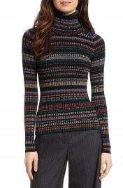 Milly Metallic Stripe Turtleneck at Nordstrom