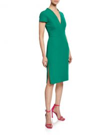 Milly Olivia V-Neck Short-Sleeve Italian Cady Dress with Thigh Slit at Neiman Marcus
