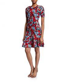 Milly Poppy Jacquard Short-Sleeve Fit- amp -Flare Dress at Neiman Marcus