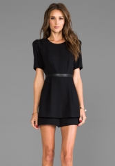 Milly RUNWAY Doubleweave Twill Leather Detail Jumper in Black at Revolve