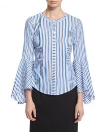 Milly Ruthie Bell-Sleeve Striped Stretch-Poplin Blouse at Neiman Marcus