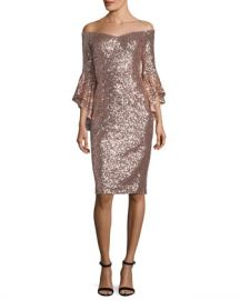 Milly Selena Off-the-Shoulder Bell-Sleeve Sequined Cocktail Dress at Neiman Marcus