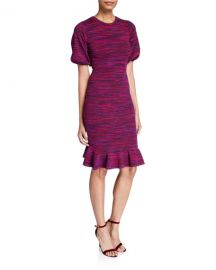 Milly Space Dye Puff-Sleeve Dress at Neiman Marcus