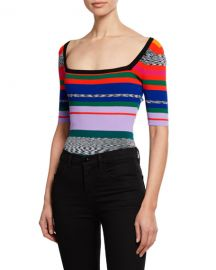 Milly Space-Dye Rainbow-Stripe Square-Neck Tee at Neiman Marcus