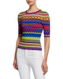 Milly Technicolor Textured Crewneck Pullover at Neiman Marcus