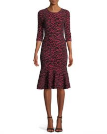 Milly Textured Leopard Animal-Print Mermaid Midi Dress at Neiman Marcus