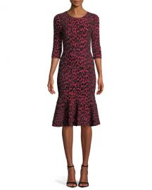 Milly Textured Leopard Animal-Print Mermaid Midi Dress at Neiman Marcus