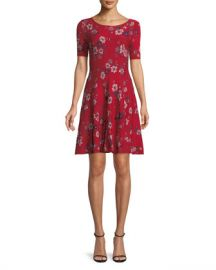 Milly Twilight Floral-Print Fit-and-Flare Dress at Neiman Marcus