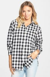 Mimi Chica Plaid Cotton Flannel Shirt in black white buffalo at Nordstrom