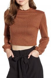 Mimi Chica Puff Sleeve Ribbed Crop Top   Nordstrom at Nordstrom