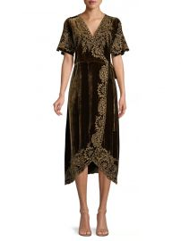 Mina Embroidered Velvet Wrap Dress by Johnny Was at Saks Fifth Avenue