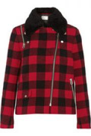 Minds shearling-trimmed buffalo checked wool-blend coat at The Outnet