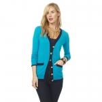Mindy's blue contrast trim cardigan at Cwonder