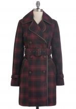 Mindy's red plaid coat at Modcloth at Modcloth