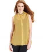 Mindy's yellow studded collar shirt at Macys at Macys
