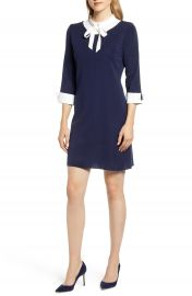 Ming Wang Bow Neck Dress   Nordstrom at Nordstrom