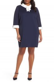 Ming Wang Bow Neck Shift Dress  Plus Size    Nordstrom at Nordstrom