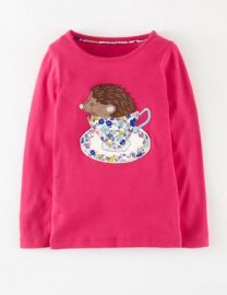 Mini Boden Story Book Appliquand233 Long Sleeve Tee in pink at Nordstrom