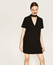 Mini Dress with Collar Detail at Zara