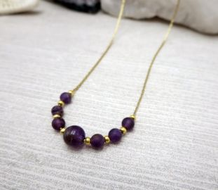 Minimalist Dainty Necklace Small Purple Bead at Etsy