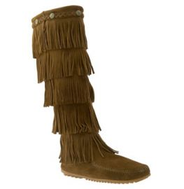 Minnetonka 5 Layer Fringe Boot in Dusty Brown at Nordstrom