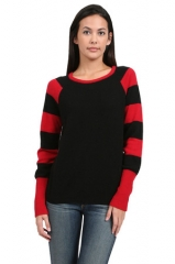 Minnie Rose striped sleeve sweater at Couture Candy