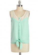 Mint and white lace top at Modcloth