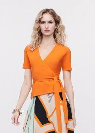 Mirella Stretch-Milano Knit Wrap Top at DvF