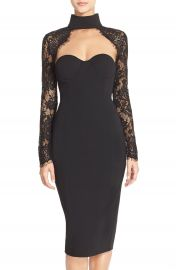 Misha Collection   x27 Carolena  x27  Lace  amp  Jersey Midi Dress at Nordstrom