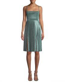 Misha Janelle Double-Slit Metallic Dress at Neiman Marcus