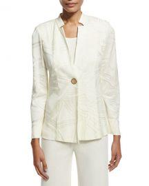 Misook Notch-Collar Ribbon-Print Jacket  Cream at Neiman Marcus