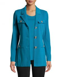 Misook Petite Dressed Up Button-Front Jacket at Neiman Marcus