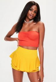 Yellow Full Frill High Waisted Shorts at Missguided