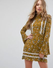 Missguided Floral Flare Sleeve Dress at ASOS