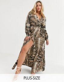 Missguided Plus plunge maxi dress in snake print   ASOS at Asos