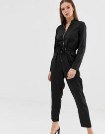 Missguided utility zip front jumpsuit in black   ASOS at Asos